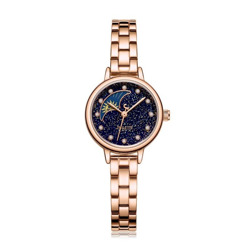 Top petit soleil et lune montre pour femme japon Quartz dame heures Fine mode horloge Bracelet en acier fille cadeau d'anniversaire boîte Julius