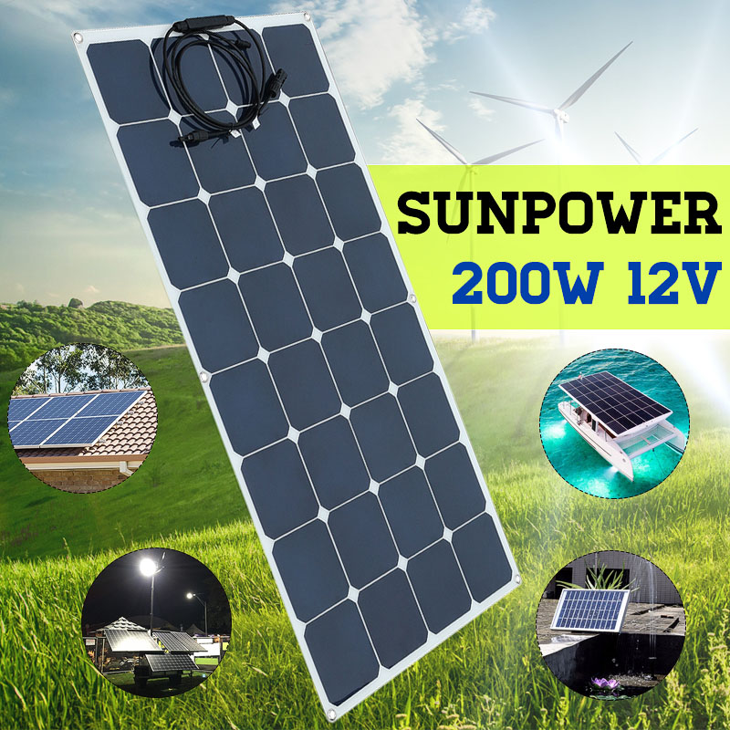 200w Solar Panel Monocrystalline 200W Solar System Photovoltaic Solar Panel 12v Battery/yacht/RV/car/boat
