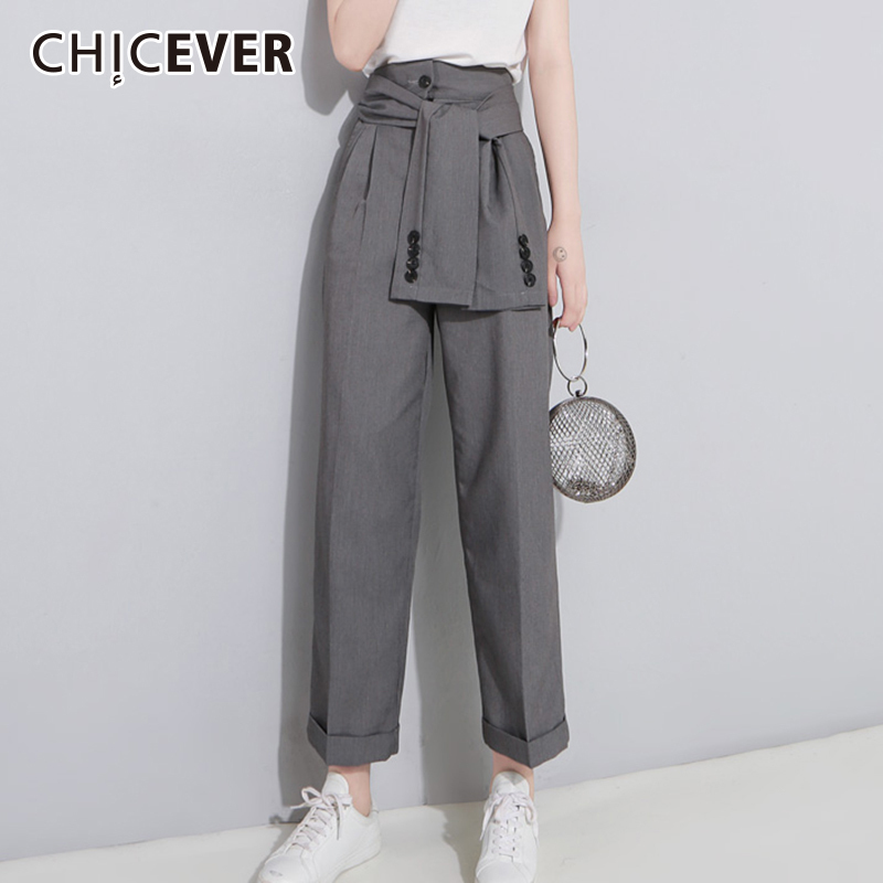 CHICEVER High Waist Trousers For Women   Wide     Leg     Pants   Loose Big Size Bandage Ankle Length   Pant   Female Summer 2018 Fashion Tide