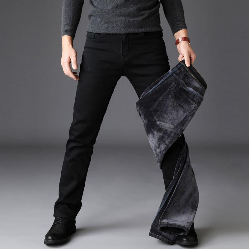 Winter   Jeans   Men Classic Black Color Slim Fit Stretch Thick Velvet Pants Warm   Jeans   For Men Fashion Casual Fleece Trousers Male