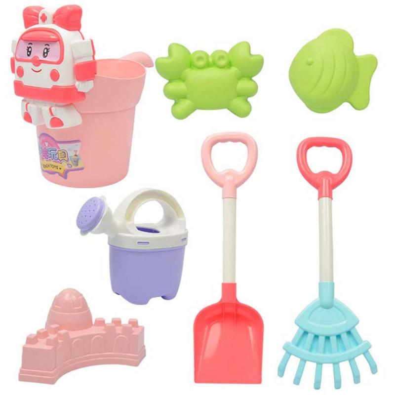 Children Outdoor Beach Play Bath Toy Set High Quality Bucket Rakes Sand Wheel New 7PCS Mix Color Beach Toy For Children Gift