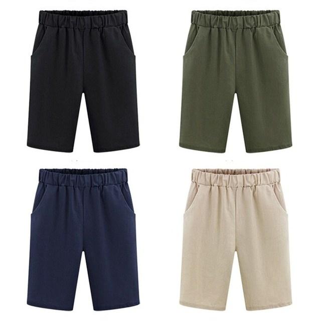 b7479d5a7797 Pantalones cortos de algodón holgados informales 4 colores sólidos para  mujer, bolsillos verano, pantalones delgados cintura alta