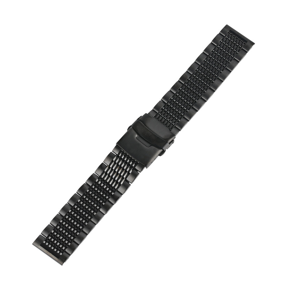 Image 5 - Stainless Steel 22mm Black/Silver Soild Watchband for Men Watches Metal Straps Bracelet Clock Replacement Watch Band Luxury-in Watchbands from Watches