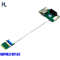 NGFF (M.2) Key A E to PCI-E Express X1+USB Riser Card with High Speed FPC Cable