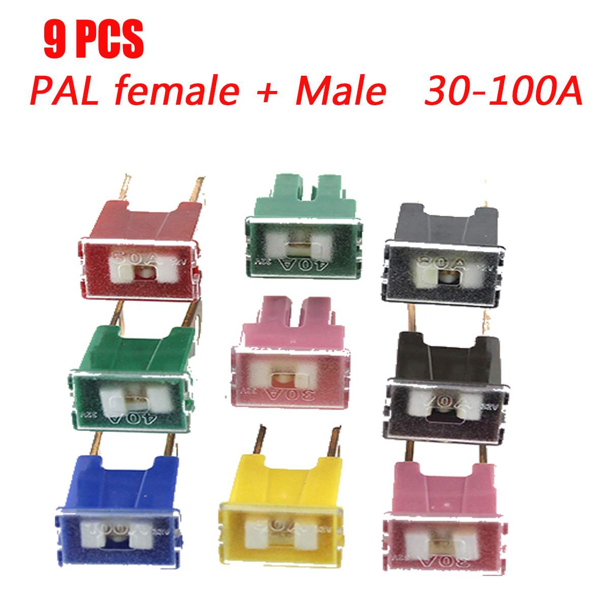 2 x 30A Pink Screw Fit Male PAL Fuse Japanese Car