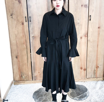 2019 New Spring And Summer Women Clothes Turn-down Collar Flare Sleeves High Waist Single Breasted Shirt Dress W083