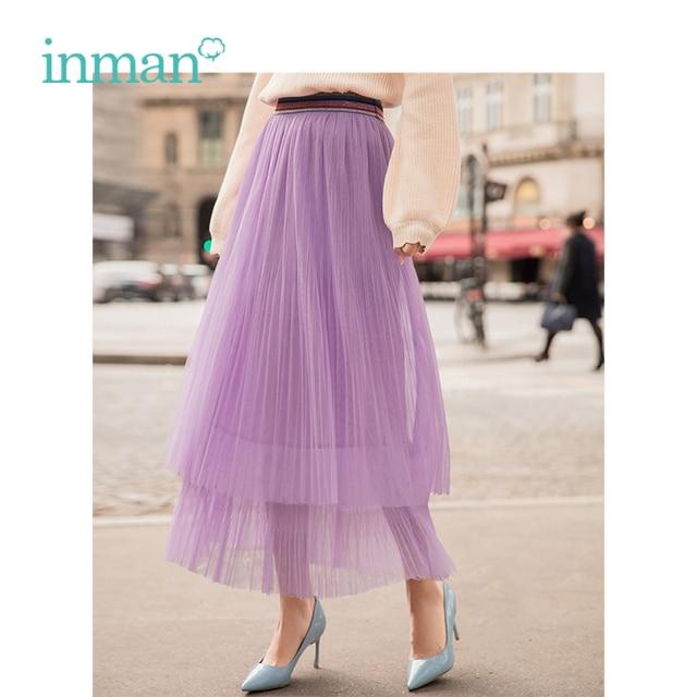 INMAN Spring New Arrival High Waist Slim Retro Literary Double Layer Gauze Women A line Skirt