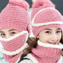 Для женщин дамы девушки снаряжены вязаный крючком шерстяной берет шляпу с шарфом маска зима теплая