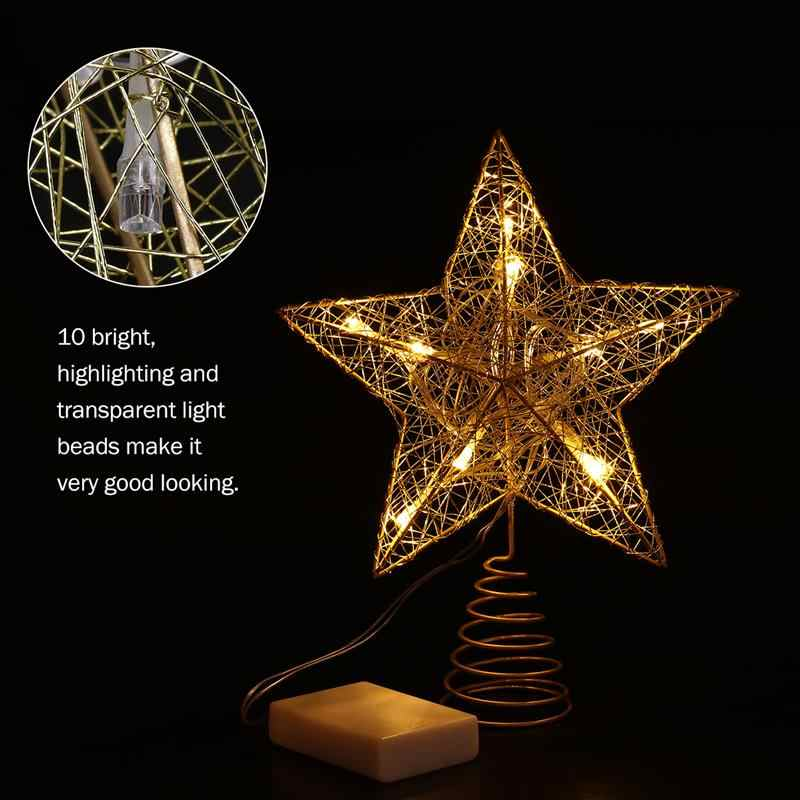 Christmas Tree Led Star Tree Topper Battery Operated Treetop Decoration Gold