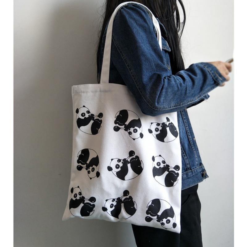 2019 Frauen Leinwand Einkaufstasche Panda Cartoon Druck Schulter Tragetaschen Eco Mehrweg Klapp Strand Shopper Tasche Handtaschen