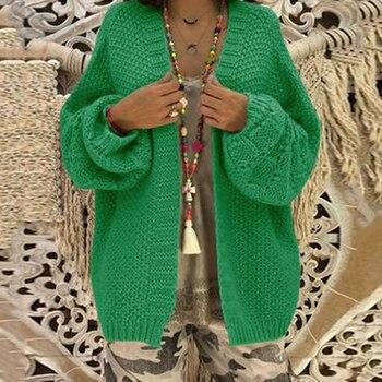 d29f317fe8f4 Nueva moda de las mujeres Chaqueta de punto de Color sólido frente abierto  Casual de manga larga abrigo de invierno de las mujeres ropa de punto