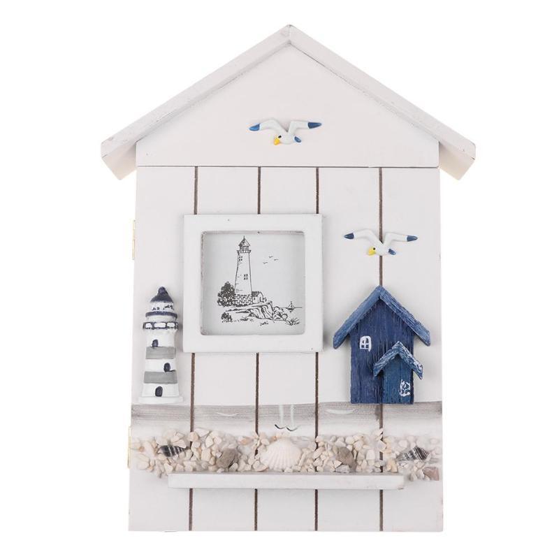 Caja de madera con forma de casa de estilo mediterráneo, soporte para llaves, caja de almacenamiento colgante para pared, organizador de pendientes, adornos artesanales para el hogar