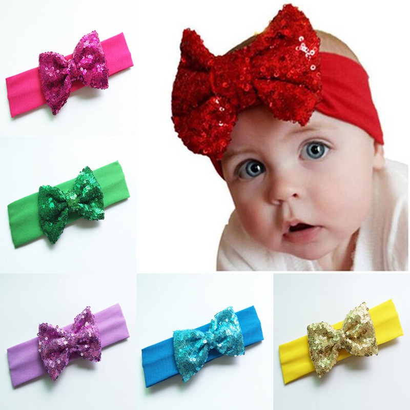 Infantile Knot Girls Big Sequin Bow Headbands For Kids Solid Elastic Hair Band Large Gold Glitter Hair Bow Hair Accessories