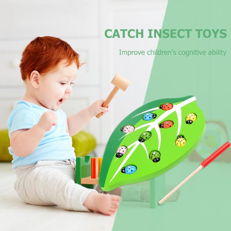 Wooden Magnetic Ladybug Catch Insect Color Shape Matching Toys Parent-child Interactive Toy Kids Learning And Educational Toy