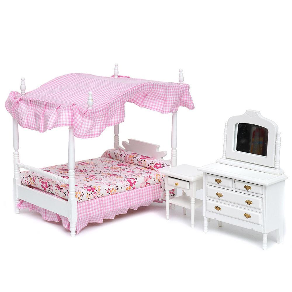 10/102 Puppenhaus Schlafzimmer Möbel Miniatur Nachttisch Mit ...