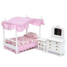 1:12 Dollhouse Miniature Bedroom Furniture CANOPY Bed Dresser Bedside Cabinet 3pcs