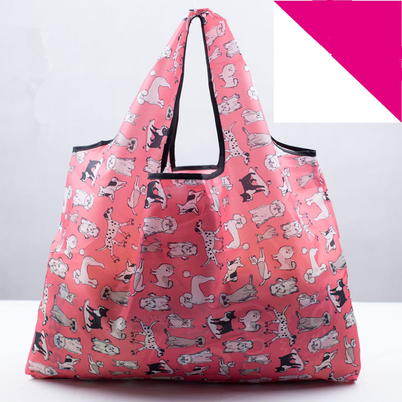 Colors Cartoon Oxford Foldable Recycle Shopping Bag Eco Reusable Shopping Dog PrintingTote Bag Floral Fruit Vegetable Grocery