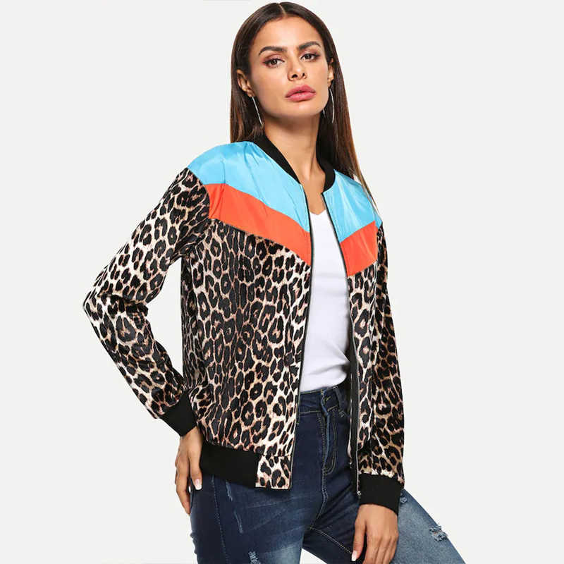 06db23a5a785 ... New Fashion Women Bomber Jacket Leopard Print Color Block Long Sleeve  Outerwear Thin Coats Women High ...