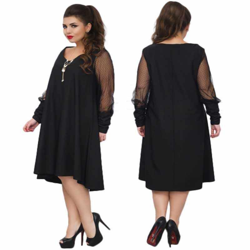 Wisalo женское платье большого размера элегантное дамское Сетчатое лоскутное платье с длинными рукавами большого размера женские кружевные вечерние платья модные Vestidos 6XL