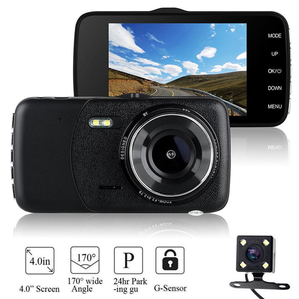 "4/""1080P Dual Lens Car Dash Cam Front and Rear Camera Dashboard 170°DVR Recorder#"