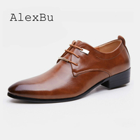 AlexBu Fashion Men Leather Shoes Man Casual Shoe Social Top Quality Business Office Wedding Shoes Black Brown Plus Size 38 48