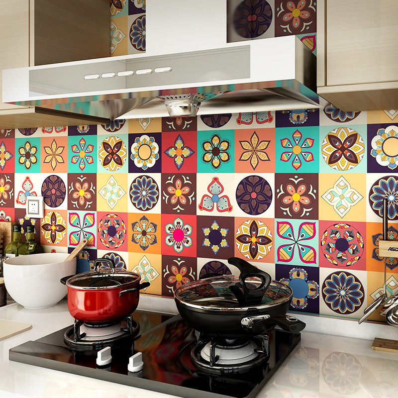 0il proof Kitchen Stickers Stove Waterproof Wallpaper Self adhesive Tile Stickers Thickening Creative European Wall Stickers