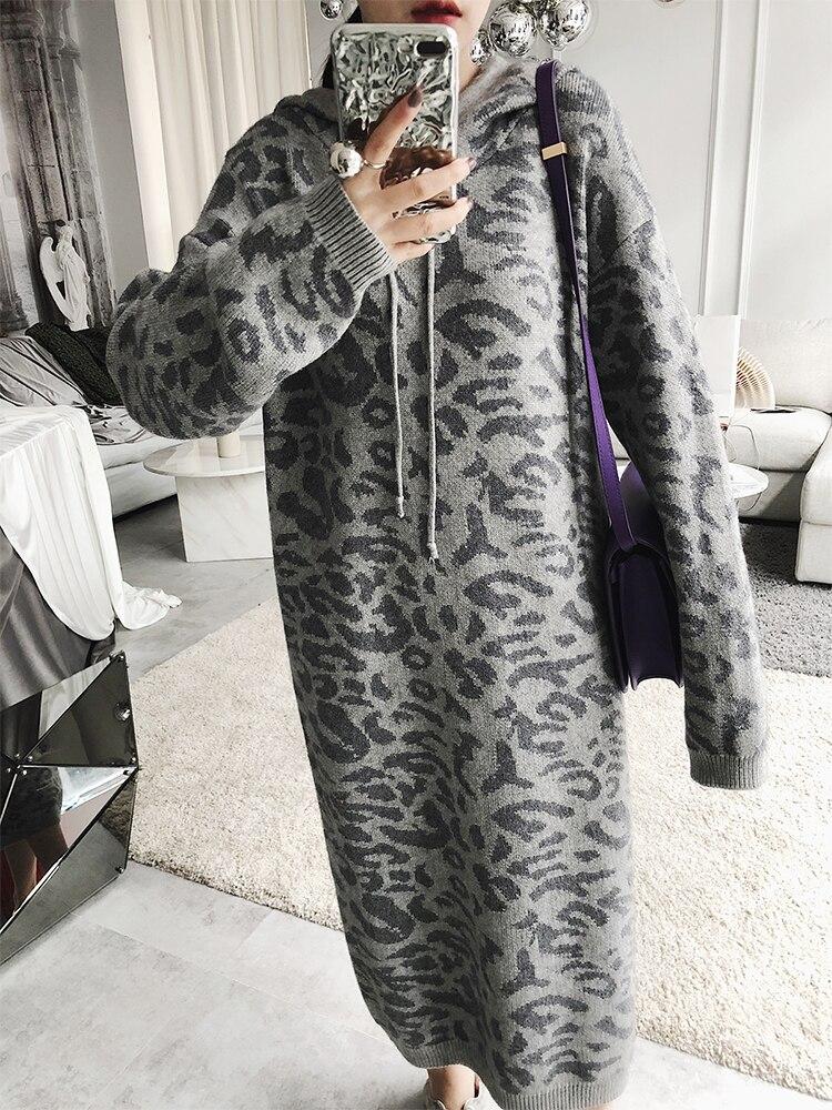 Printemps Robe Robes Capuche Shengpalae Coréenne Femme Manches Impression Pour Léopard 2019 Mode Gray À color Taille Grande Nouvelle Longues Fi281 Lâche Card oCdxBre