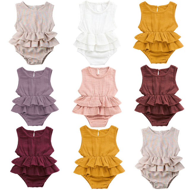 Pudcoco 2019 קיץ יילוד קיד תינוקת בגדים ללא שרוולים בגד גוף מוצק טוטו 1 PC חליפת הקיץ מזדמן תלבושת בגדי Dropshipping