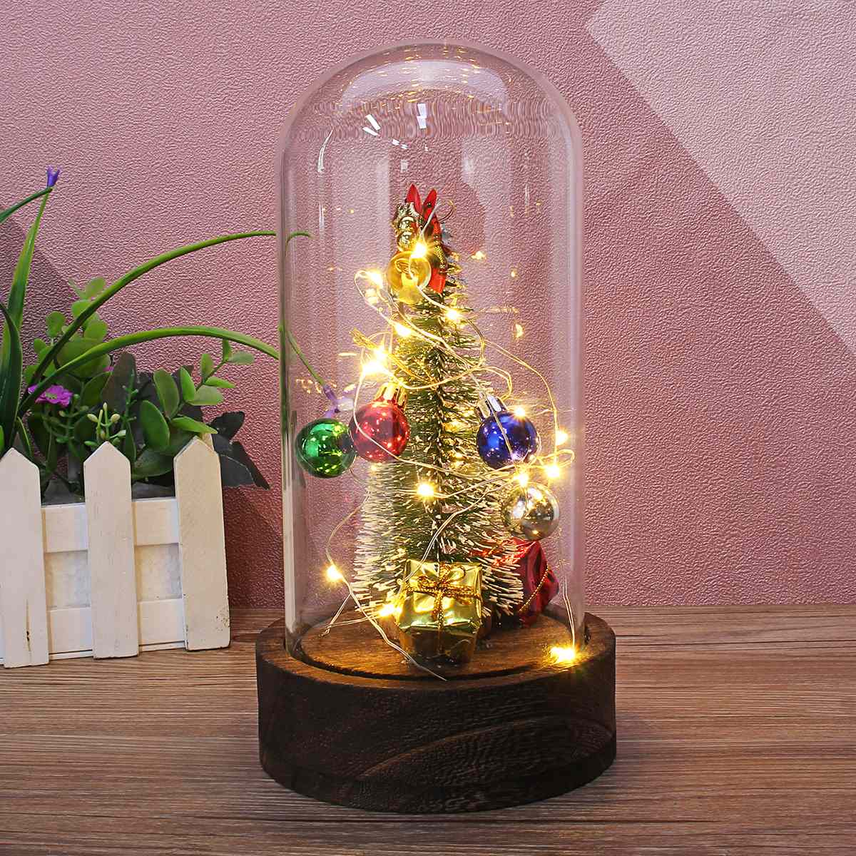 1PC Christmas Tree Jingle Bell Ornaments Gift Glass Dome Bell Jar + Fairy LED Lights Wooden Base + Music Box Song For Home Decor туалетная бумага familia plus магический цветок двухслойная цвет белый 4 шт