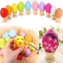 12pcs Mixed Color Plastic Easter Egg Kids Painting Diy Craft Gags Practical Jokes Educational Children Decorations Eggs