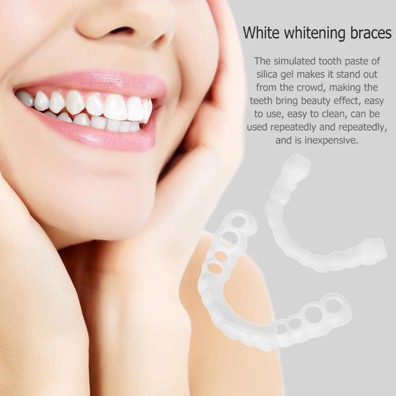 1pair Silicone Fake Teeth False Tooth Cover Whitening Denture Dental Oral Care Teeth Whitening Dental Plastic Whitening Denture