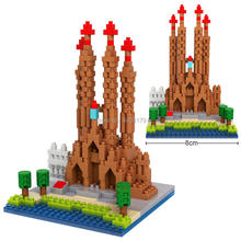 hot LegoINGlys creators city Street view Catholicism Sagrada Familia Spain micro diamond building blocks model bricks toys gift