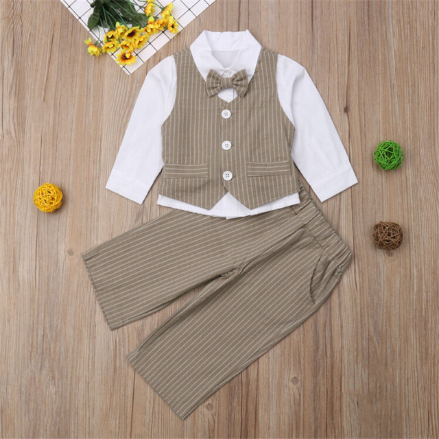 faf7b6eee86bd New Children 4pc Baby Boy Sets Suits Formal Party Holiday Wedding Tuxedo Waistcoat  Outfit Suit 1-6 Years Fashion Popular Sets