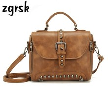Fashion Women Leather Handbags Solid Shoulder Crossbody Bags For Women Tote Bags Rivets Female Famous Brand Retro Messenger Bag