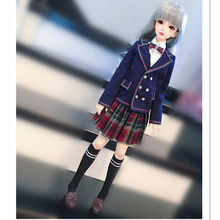BJD Doll Clothes School Uniform for Dolls Accessories,Blue Suit Jacket Set Doll Clothing for 1/3 1/4 BJD DD MSD Doll(China)