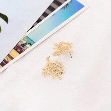2019 Beach Coral Branch Filigree Metal Earring Sea Life Runway Girl Stud Earrings цена