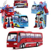 New Alloy Robot Transformation Car Toys Alloy Deformation P olice Robot Bus Toy For Kids children Birthday Christmas gift(China)