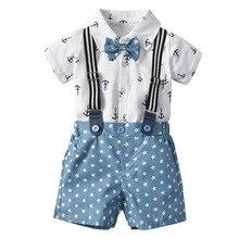 VTOM Summer Baby Boys Sets Short Sleeve Tops+Suspenders Shorts Pants Formal Gentleman Clothes XN19