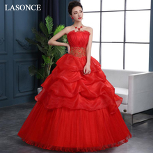 LASONCE Pleat Strapless Red Lace Embroidery Ball Gown Wedding Dresses Off The Shoulder Tiered Tulle Backless Bridal Gowns