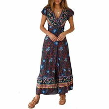 Rylanguage  New Fashion 2019 Spring Summer Ethnic Short Sleevev-neck Printed Loose Dress Women Sexy Y901