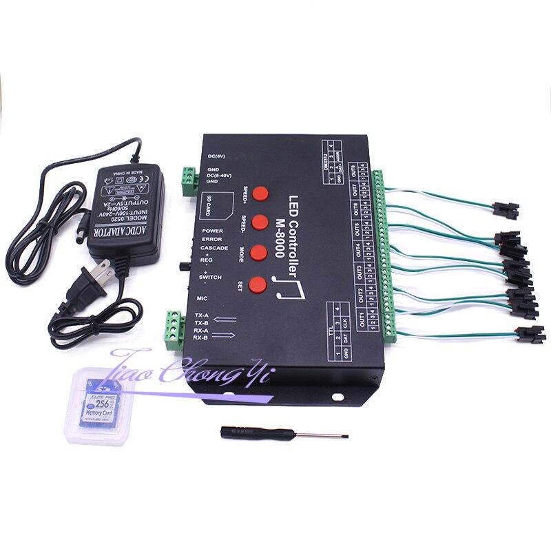 Ws2812 controlador de música led controlador M 8000 progable 8096 pixel rgb controlador para ws2812b ws2801 sk6812 módulo tira conduzida