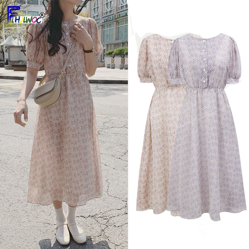 Vintage Printed Dresses Women Fashion Summer Short Sleeve Slim Waist A Line Preppy Style Girls Korean Style Clothes Design Dress