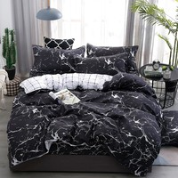 Jeefttby Home Textiles Luxury Marble Pattern Bedding Set 3/4pcs Duvet Cover Set Pillowcases Comforter Bedclothes Bed Linen Set