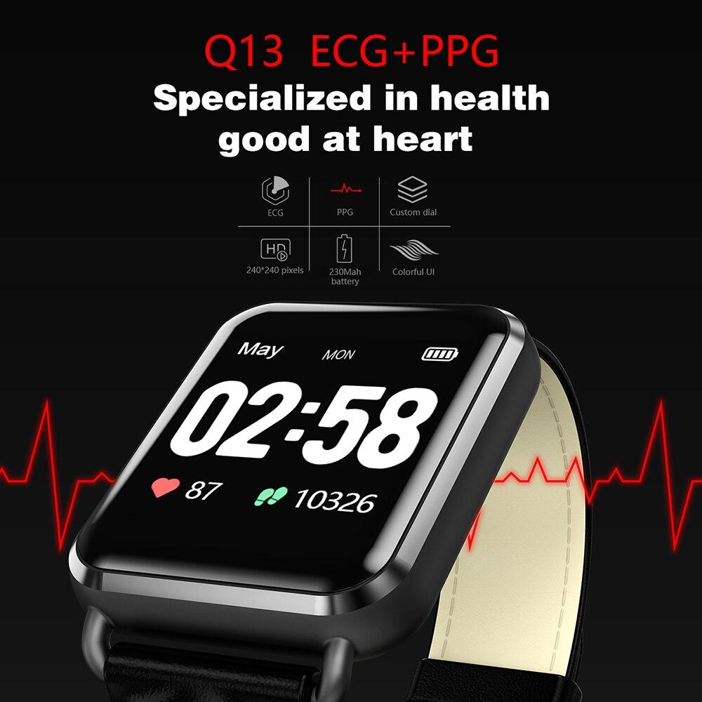2019 Newwear Q13 Montre Smart Watch ECG PPG BT Hommes Femmes Sang Pression Message D'appel Étanche Smartwatch Podomètre Pour iOS Android
