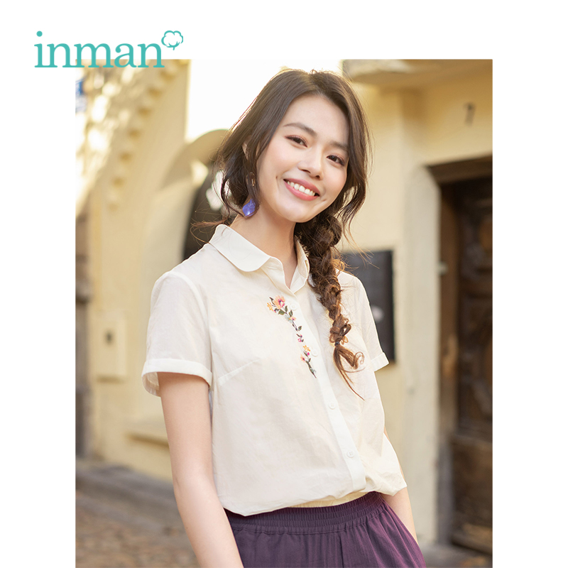 INMAN 2019 Summer New Arrival Cotton Short Sleeve Turn Down Collar Embroidery Literary All Matched Women Blouse