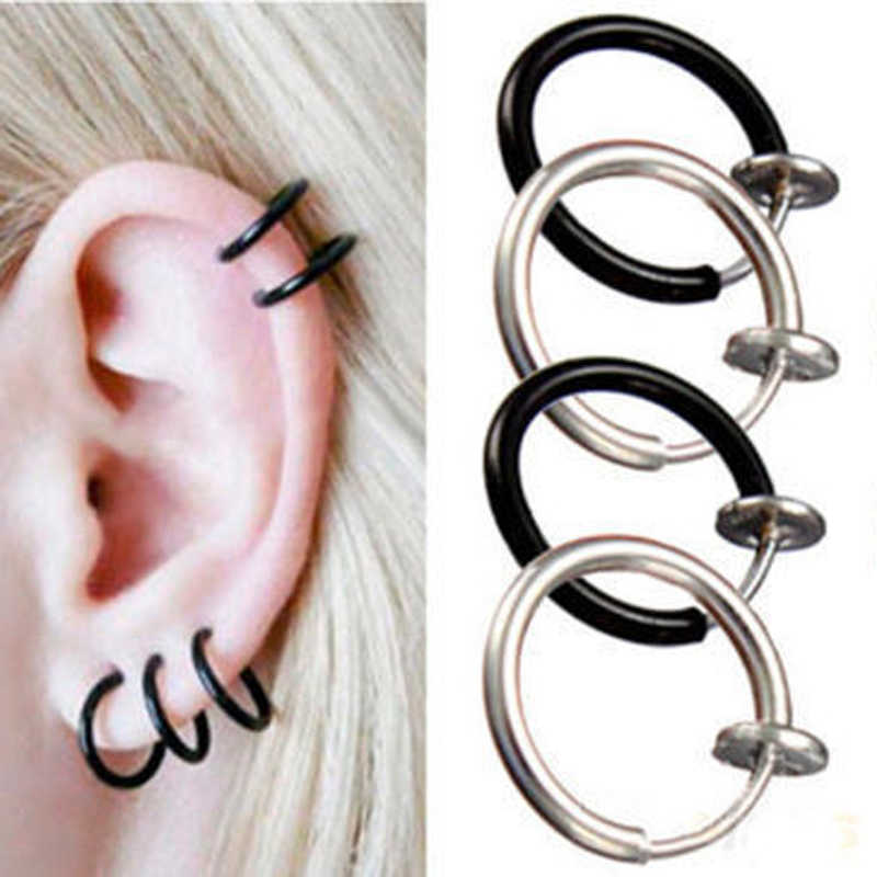 Hot Sale 2pcs Invisible No Ear Hole Earrings Clip Nose Ring Belly Button Ring For Unisex Punk Wind Accessories