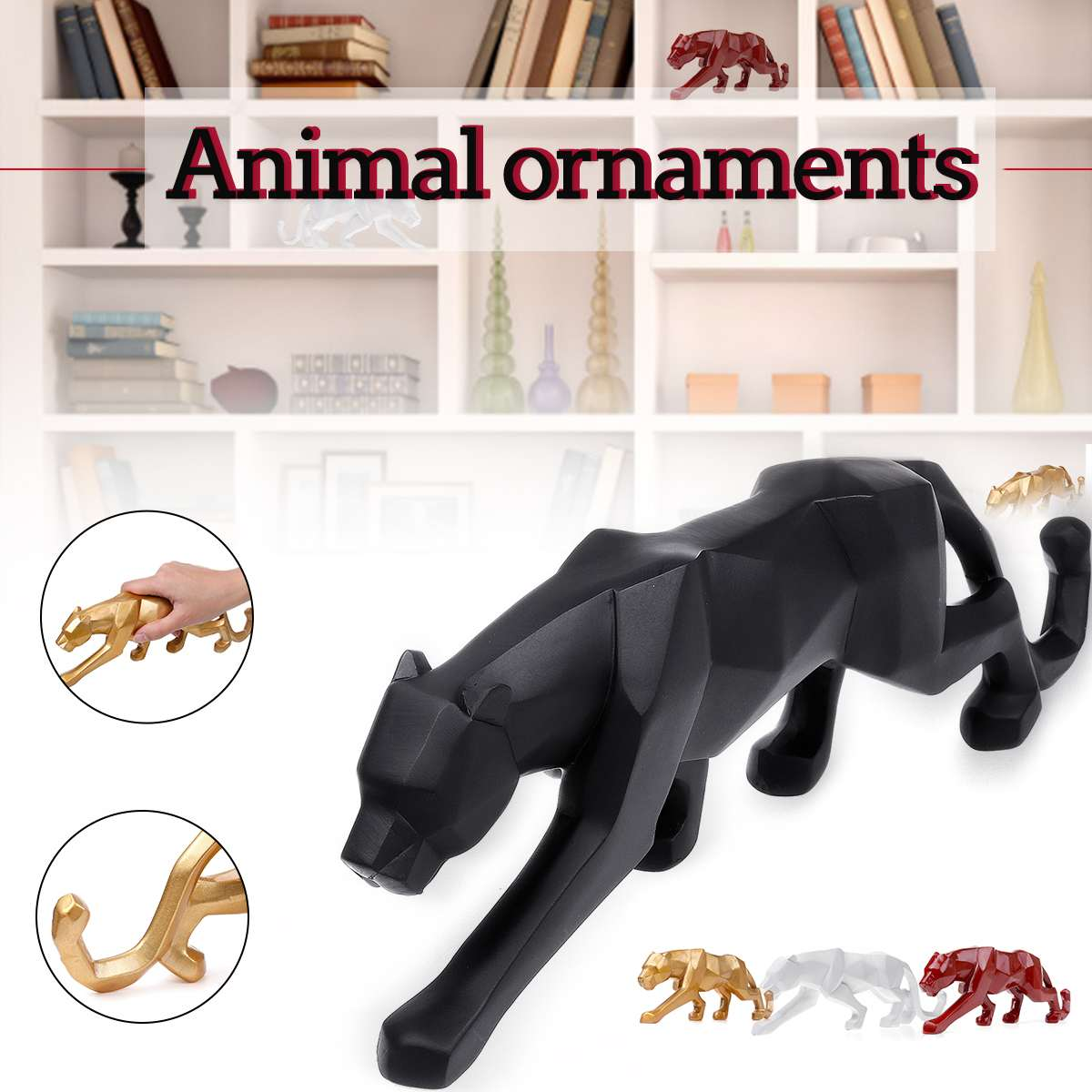 26*5*8cm Modern Red Gold White Black Panther Resin Sculpture Geometric Resin Leopard Statue Crafts Wildlife Art Decor Gift26*5*8cm Modern Red Gold White Black Panther Resin Sculpture Geometric Resin Leopard Statue Crafts Wildlife Art Decor Gift