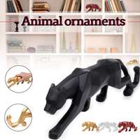 26*5*8cm Modern Red Gold White Black Panther Resin Sculpture Geometric Resin Leopard Statue Crafts Wildlife Art Decor Gift