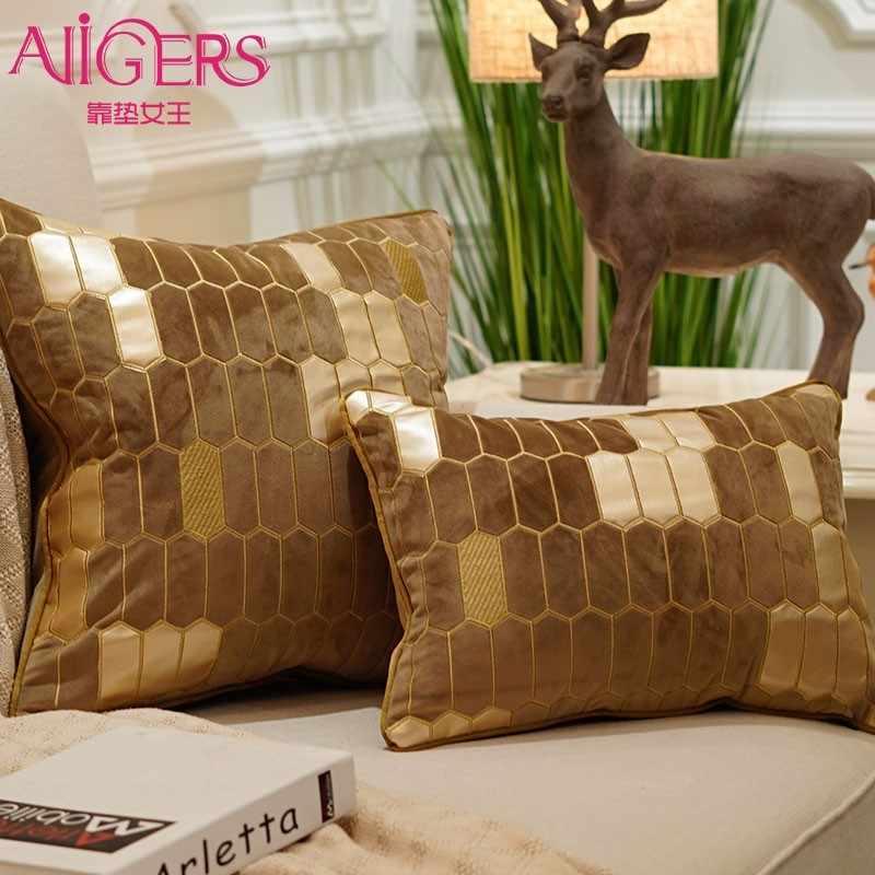 Avigers Bordado Fronha Fronha Capa de Almofada de Veludo de Luxo Europeu Geometria Casa Cadeira Do Sofá Decorativo Descanso de Lance
