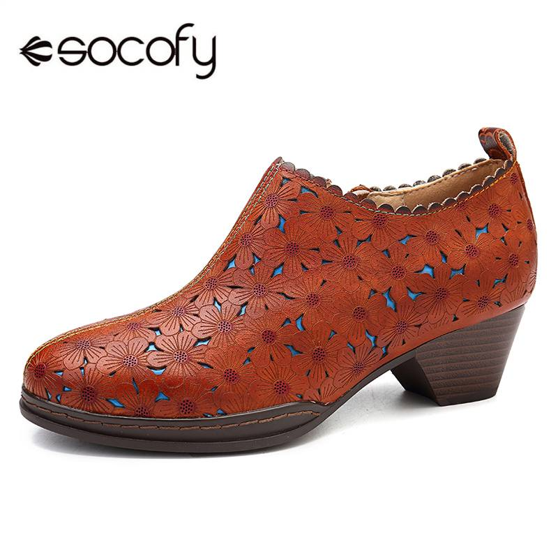 2d9432c76cbe SOCOFY Retro Bohemian Women Pumps Flowers Pattern Hollow Genuine Leather  Heel Comfortable Stitching Zipper Pumps Ladies Shoes